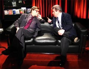 André Schiffrin con Jorge Herralde en el programa televisivo de Emili Manzano L´hora del lector